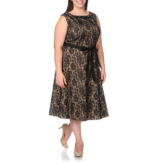 S.L. Fashions Women's Plus Size Embellished Neckline Lace Cocktail Dress