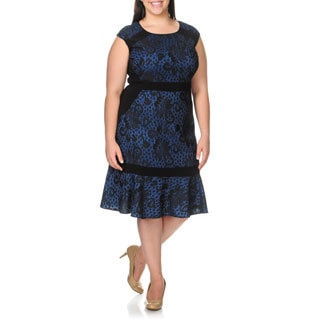 S.L. Fashions Women's Plus Size Lace Flounce Hem Cocktail Dress