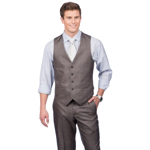 Kenneth Cole Crme Label Men's Slim Fit Grey Suit Separates Vest
