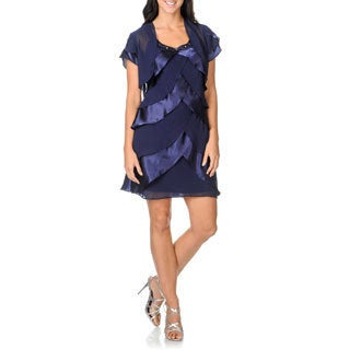 S.L. Fashions Women's Chiffon/ Satin Tiered 2-piece Jacket Dress