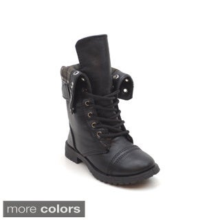 Blue Children's 'K-Durq' Fold-over Lace-up Combat Boots