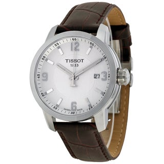 Tissot Men's T0554101601701 PRC 200 Silvertone Dial Brown Leather Watch