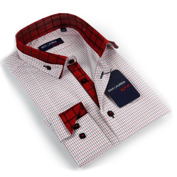 Max Lauren Men's Red/ Black/ White Checkered Button-down Dress Shirt