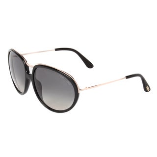 Tom Ford Women's 'Faye TF281 01F' Black/ Gold Aviator Sunglasses