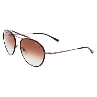Tom Ford Unisex 'Burke FT 0247 10F' Havana Aviator Sunglasses