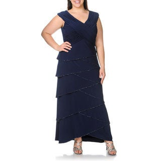 Patra Women's Plus Size Navy Beaded Tiered Evening Dress