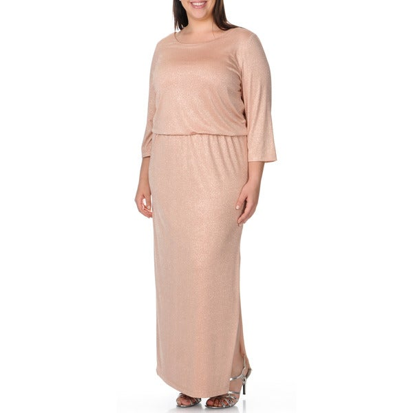 Patra Women's Plus Size Blouson All-over Sparkle 3/4-sleeve Evening Dress