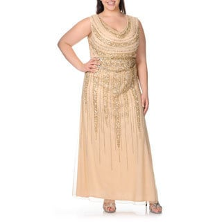 Patra Women's Plus Size Cowl Neck Sequin Embellished Evening Dress