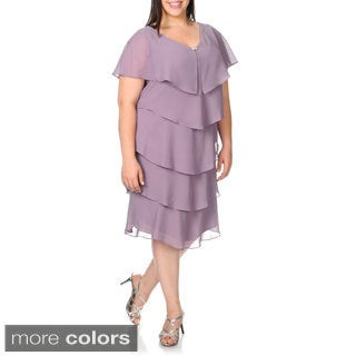 Patra Women's Plus Size Purple V-neck Tiered Cocktail Dress