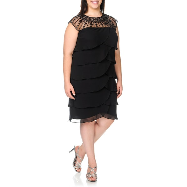 Patra Women's Plus Size Black Tiered Beaded Yoke Cocktail Dress