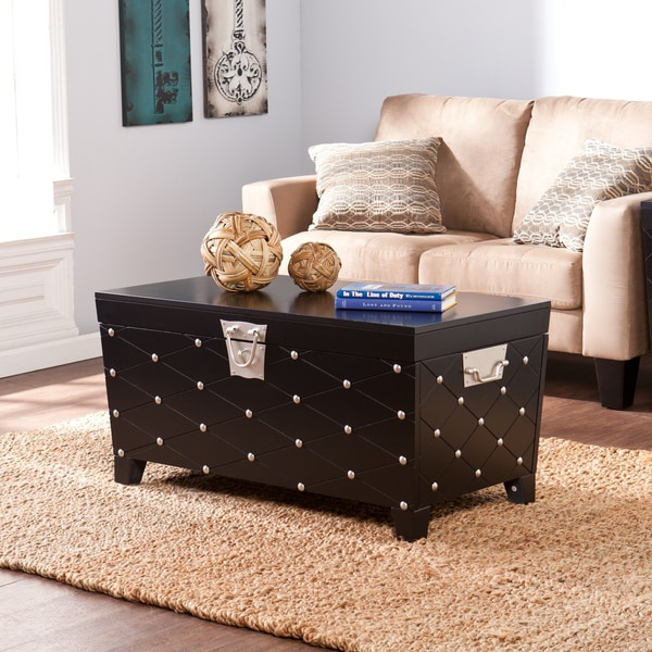 Upton home baylen black and satin silver coffee cocktail table trunk 16562235 Silver trunk coffee table