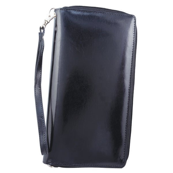 Black Leather Travel Organizer Clutch