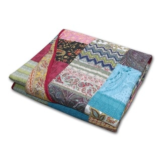 Greenland Home Fashions New Bohemian Cotton Patchwork Throw Blanket