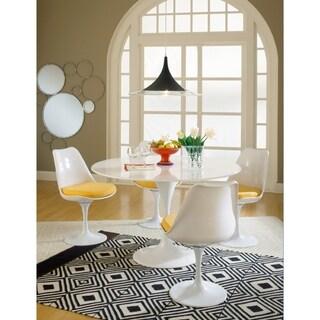 White Fiberglass Swivel Tulip Chair with Yellow Seat Cushion