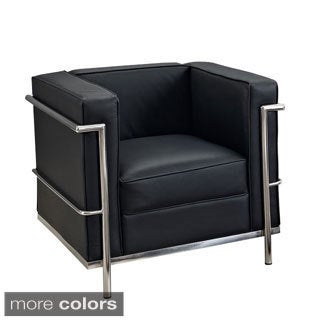 Le Corbusier Style LC2 Genuine Leather and Steel Chair