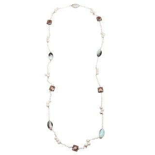 "Kele & Co's 38"" Amazonite, Fresh Water Pearl, Smokey Quartz and .925 Sterling Silver Necklace"