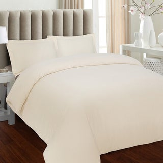 Tribeca Living Solid Flannel 3-piece Duvet Cover Set