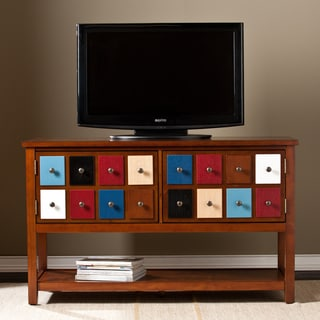 Upton Home Primrose Multicolor and Brown Mahogany Apothecary Console and TV Stand