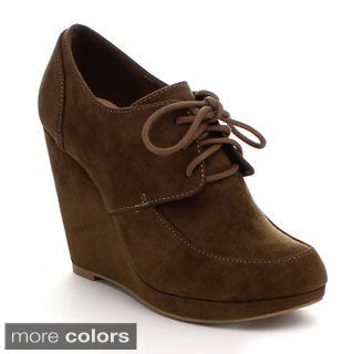 Styluxe Women's 'Juan' Faux Suede Oxford Lace-up Booties