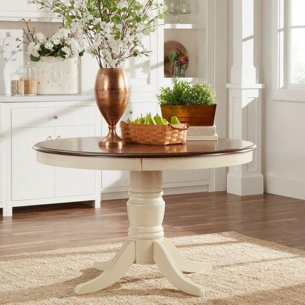 TRIBECCA HOME Mackenzie Round Country Antique White Dining Table 16562405