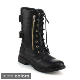 Refresh Women's 'Terra-20' Mid-calf Lace-up Combat Boots