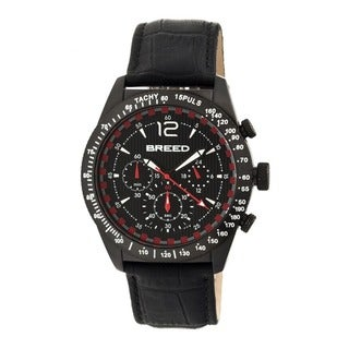 Breed Men's Griffin Black Leather Black Analog Watch