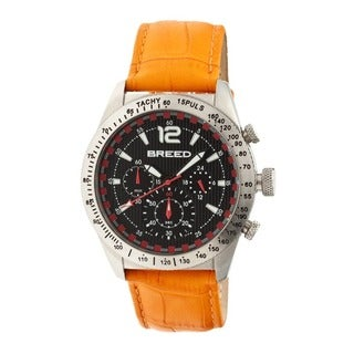 Breed Men's Griffin Black Leather Orange Analog Watch
