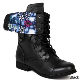 Bumper Women's 'Freda45AA' Fold-down Combat Mid-calf Boots