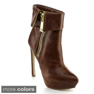 Wildrose Women's 'Lavania03' Fold-over Platform Stiletto Booties