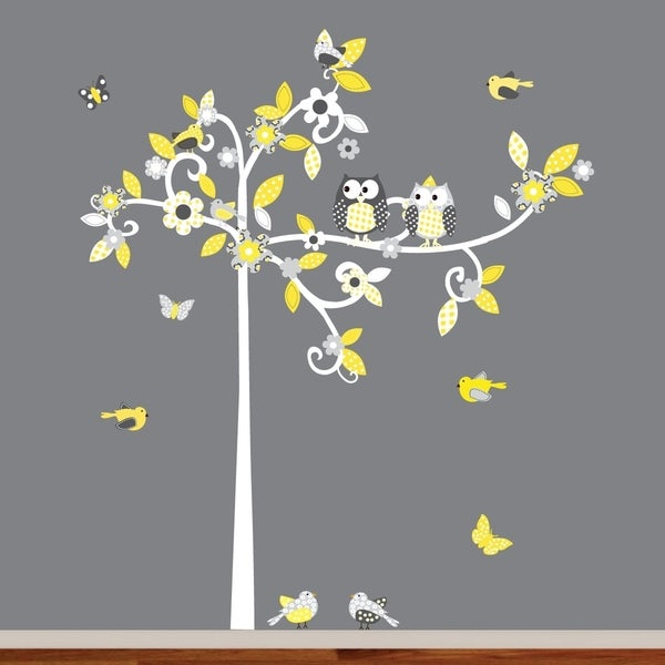 Flower Swirl Tree Bird and Owl Child Nursery Decal
