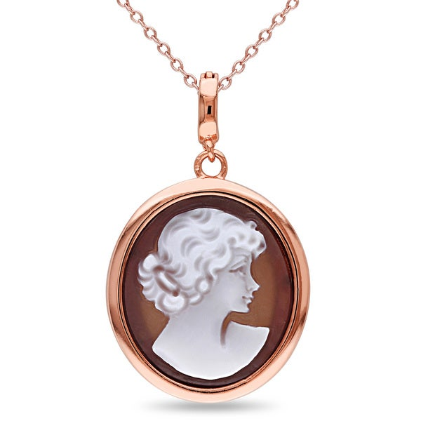 Miadora Rose Plated Silver Cameo Necklace