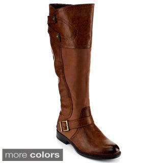 Blossom Women's 'Pita-28' Buckle Strap Knee-high Riding Boots