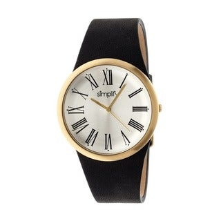 Simplify Men's The 2000 Silver Leather Black Analog Watch