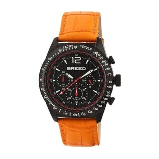Breed Men's Griffin Orange Leather Black Analog Watch