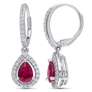 Miadora Silver Created Ruby and Created White Sapphire Earrings