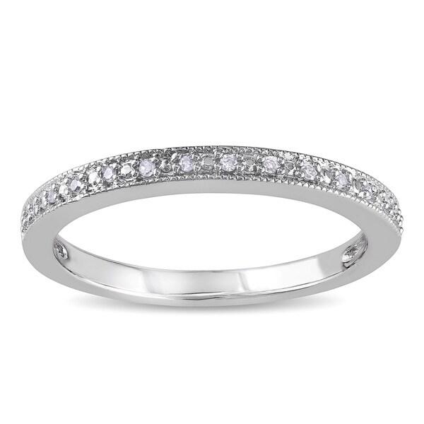 Haylee Jewels 10k White Gold Diamond Accent Semi Eternity Wedding Band