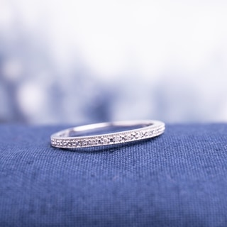 Miadora 10k White Gold Diamond Accent Semi-eternity Wedding Band