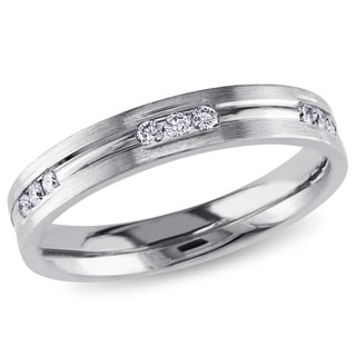 Miadora 14k White Gold 1/3ct TDW Diamond Women's Wedding Band (H-I, SI1-SI2)