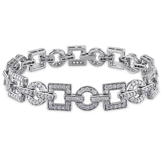Miadora Sterling Silver Created White Sapphire Tennis Bracelet