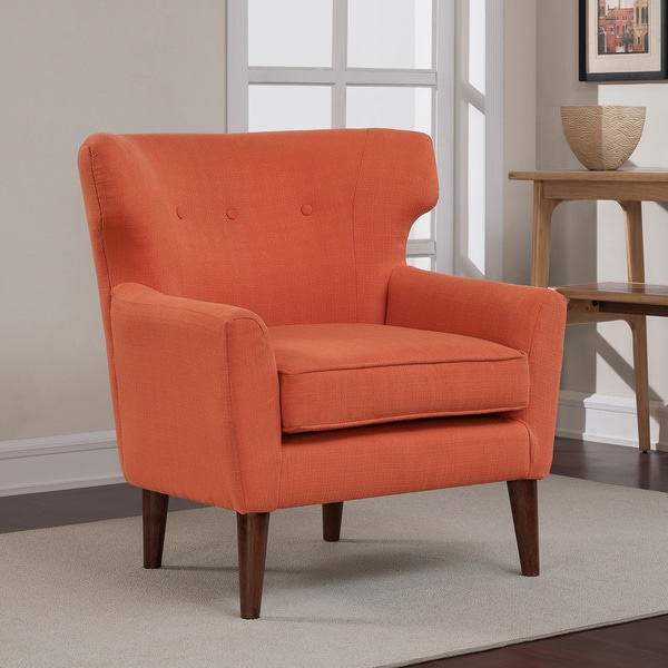 Orange Accent Chair Wingback Club Coral Rust Button Tufted Walnut Living Room