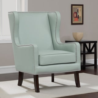Oversized Aqua Bonded Leather Wing Chair
