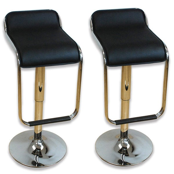 Mod Made Curve Black Adjustable Bar Stool (Set of 2)