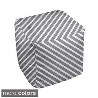 13 x 13-inch Neutral Diagonal-stripe Decorative Pouf
