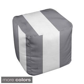 13 x 13-inch Neutral Thick-stripe Decorative Pouf