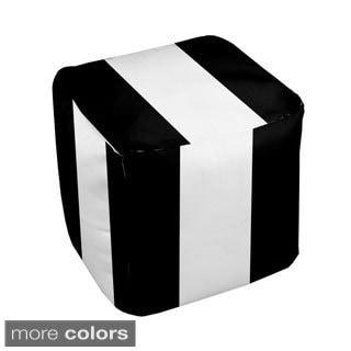 13 x 13-inch Bold Thick-stripe Decorative Pouf