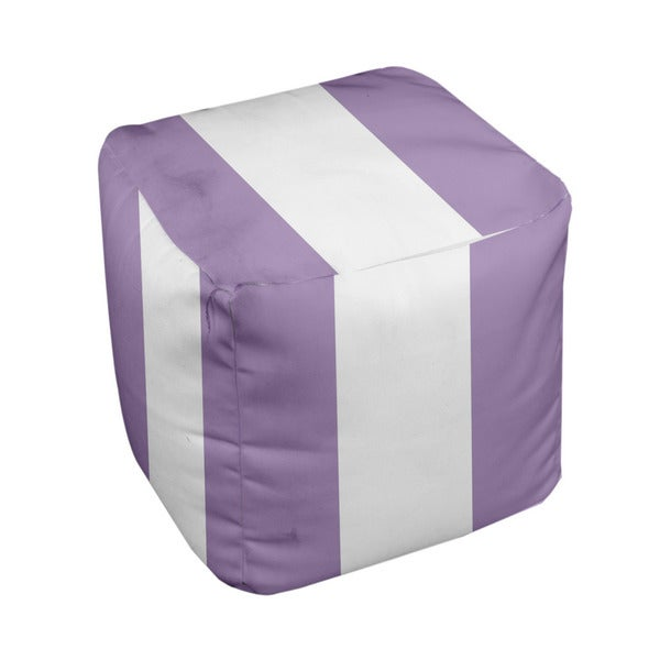 13 x 13-inch Purple Large Stripe Decorative Pouf