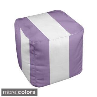 13 x 13-inch Purple Large Stripe Decorative Pouf