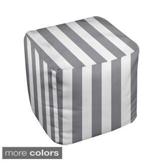 13 x 13-inch Neutral Medium Stripe Decorative Pouf