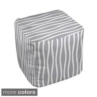 18 x 18-inch Neutral Wavy Stripe Decorative Pouf