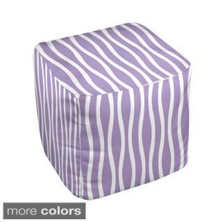 18 x 18-inch Purple Wavy Stripe Decorative Pouf